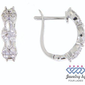 Solid Marquise Style Diamond Earrings White Gold